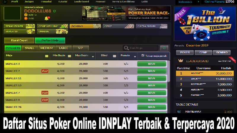 daftar situs poker idn